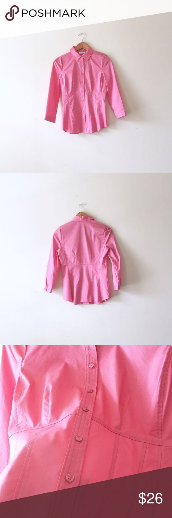 NY&Co pink dress shirt Size XS, NWT. Stretchy fitted button down shirt in pink. New York & Company Tops Button Down Shirts