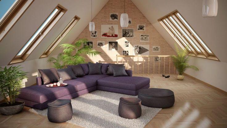 Al plano superior de mi casa se encuentra una buhardilla muy grande, donde Giacomo y yo podemos relajarnos o divertirnos con nuestros amigos. En el centro hay un grande sofá violeta con muchas almohadas, además hay una alfombra de color gris y tres plantas. Encima de la habitación hay unas grandes ventanas.