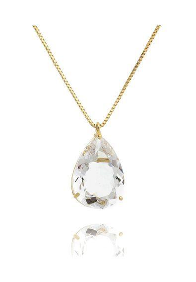 Colar-de-gota-zirconia-cristal-com-banho-de-ouro-18k   Colares Semi ... 633d6bcc4c
