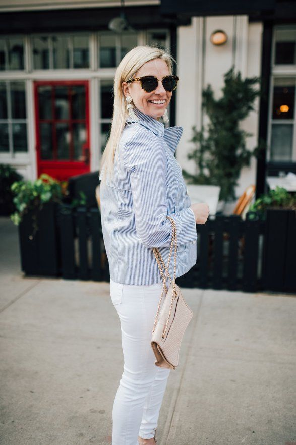 classic preppy striped trench coat -- Blush and Blooms