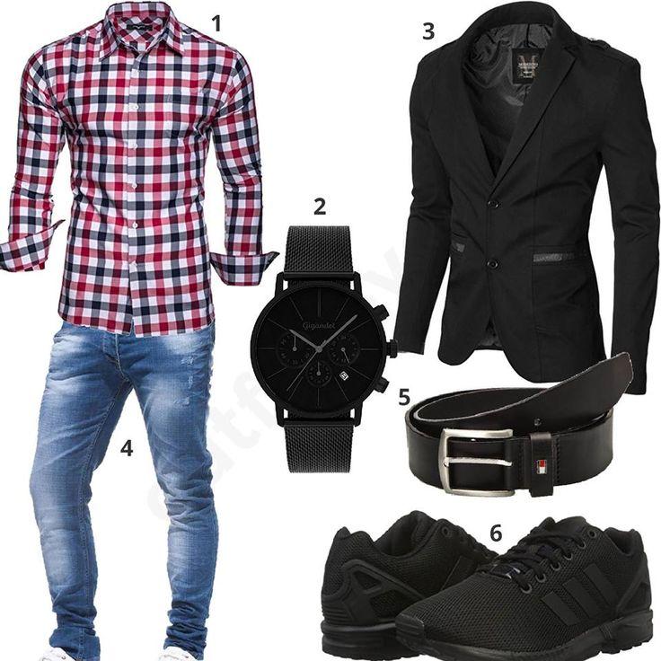 herren outfit mit schwarzem moderno sakko kariertem hemd. Black Bedroom Furniture Sets. Home Design Ideas
