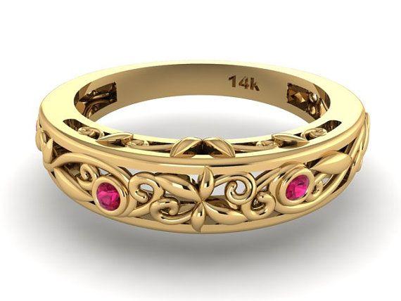 Vigne et feuille demi-jonc, correspondance demi-jonc, anneau de pierres naturelles de rubis rouge profond, pierres rubis vigne et feuille bague de mariage
