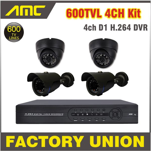 4ch CCTV System 600TVL 4 Camera DVR Security System CCTV Kit 4 Channel CCTV DVR System Video Surveillance System for Home