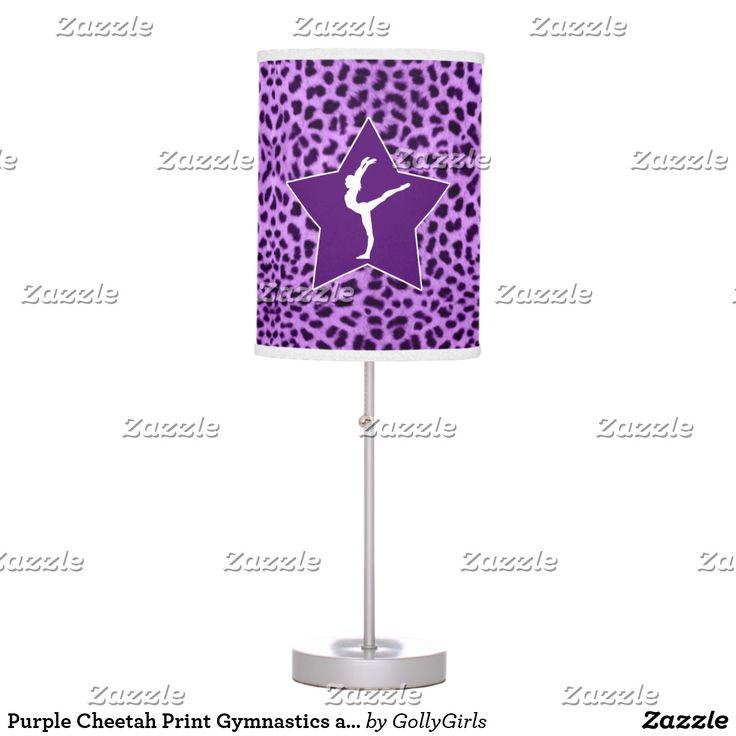 Purple Cheetah Print Gymnastics and Big Star Table Lamp