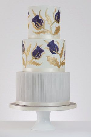 painted thistles - rosewood cakes - luxury wedding cakes glasgow scotland loch lomond.jpg #weddingcakedesigns