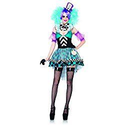 Women's 4 Piece Manic Mad Hatter Costume, Black/Light Blue, Halloween Costume