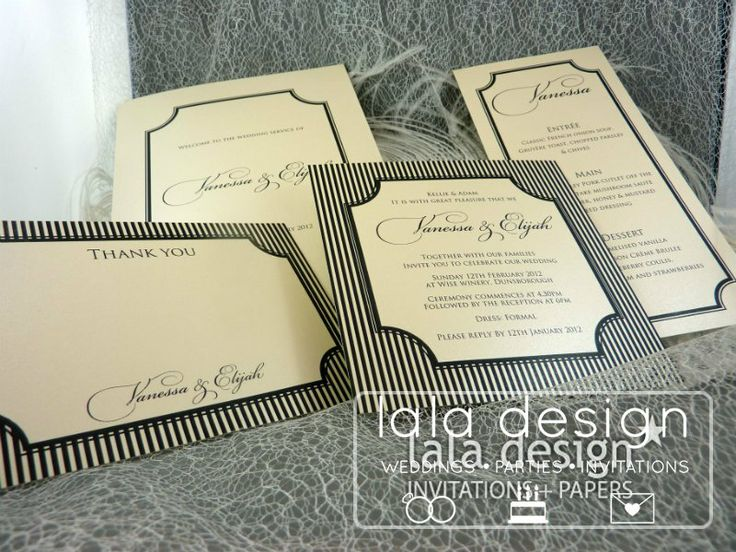 Black and cream graphic wedding invitation set