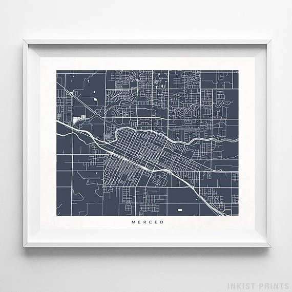 Merced, California Street Map Wall Art Poster - 70 Color Options - Prices from $9.95 - Click Photo for Details - #streetmap #map #homedecor #wallart #Merced #California
