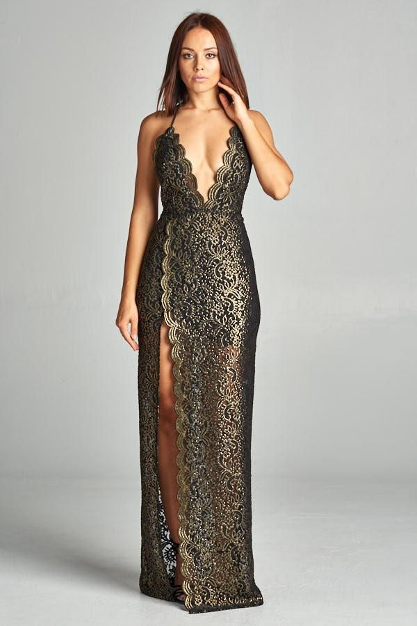 Allure of the Night Gold Lace Dress