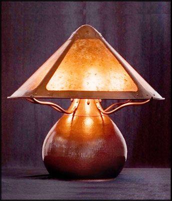 Direct copy of Dirk Van Erp's famous gourd lamp.  Craftsman Copper- James Davies