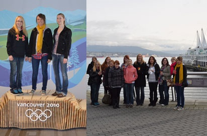 Reading Week 2012 meant a field trip for event management students. Their destination was Vancouver and seeing Olympic venues post-Olympics. Besides owning the podium for themselves (left to right are Berlynn Mellis, Ashley Fadden and Kenzie Jands), they also toured Vancouver Convention Centre and the Museum of Vancouver. (MOV) Above right is the group on the waterfront by Canada Place.