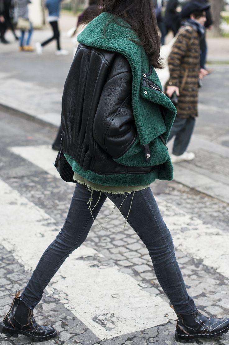 emerald under leather, layered jackets