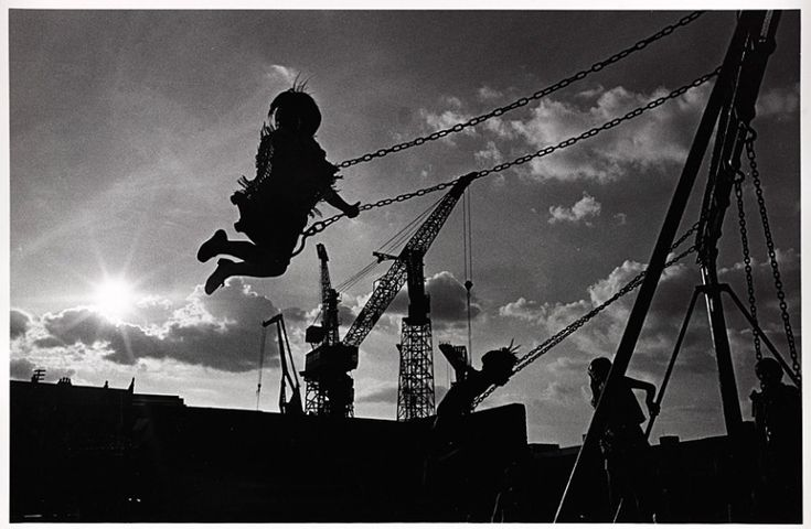 A playground by the shipyards in Govan, Glasgow, August 1970