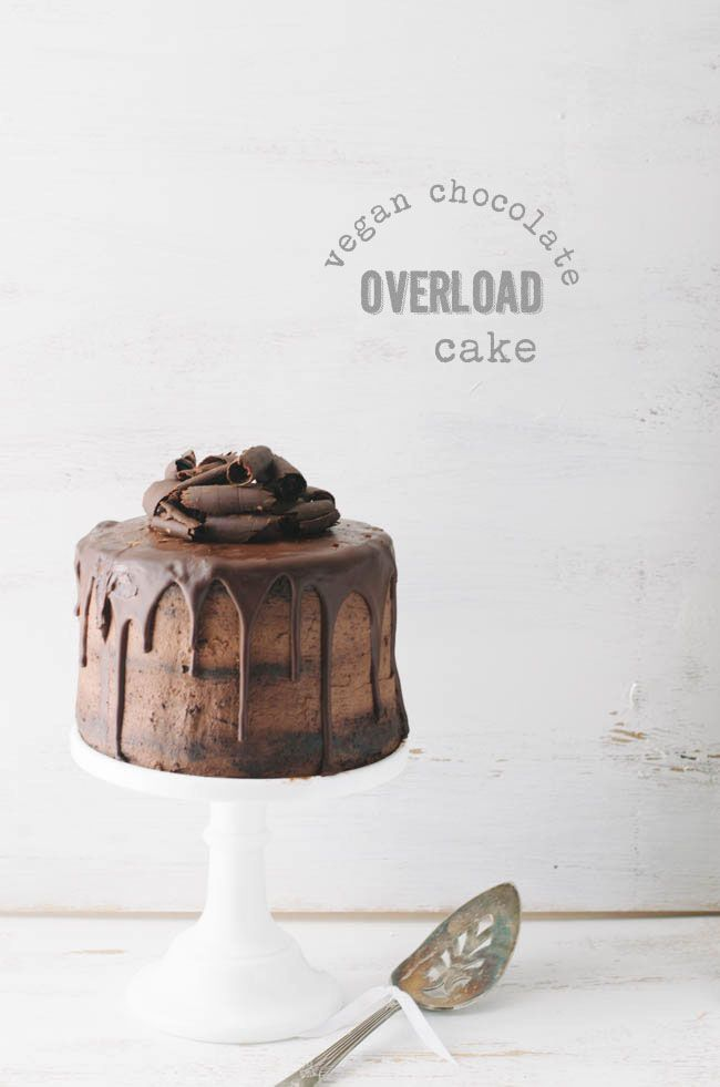 chocOlate overload cake with chocolate frosting & glaze (vegan)