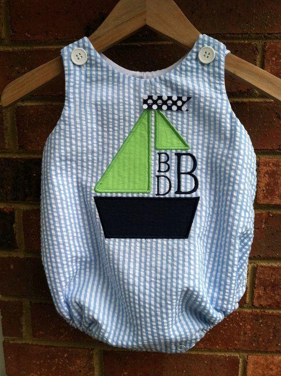 Blue Seersucker Stripe Baby Boy's by dotsndimplesboutique on Etsy