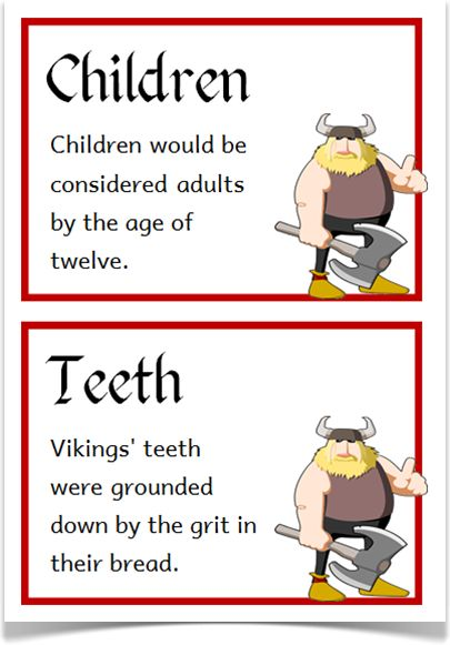 The Vikings Fact Cards - Treetop Displays - Downloadable EYFS, KS1, KS2 classroom display and primary teaching aid resource