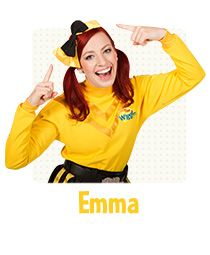 "Emma wears the yellow Wiggles shirt and is a wonderful dancer. She can dance ballet, jazz, tap and even Irish dancing and has been dancing since she was a young girl. Emma loves wearing her signature bows in her red hair and even on her shoes; she says they look 'bowtiful'! She also plays the drums with a joyous wiggly beat and is the driver of the Big Red Car. As she's driving she sings ""Toot Toot, Chugga Chugga, Big Red Car""! If you'd like to stay in touch with Emma, you can follow her on…"