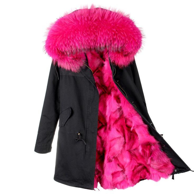 2017 nieuwe mode vrouwen luxe Grote wasbeer bontkraag hooded jas warm vossenbont liner parka lange winter jas top kwaliteit(China (Mainland))