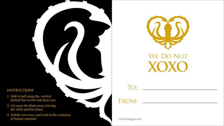 Special Edition Greyjoy Free Game of Thrones Valentine!   Krystal Higgins