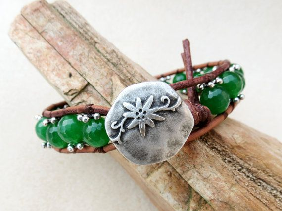 Emerald Green Faceted Quartz Leather Wrap Boho Bracelet, Silver Matte Button, Shabby Chic, Handmade Leather Jewelry by CreativeGypsy on Etsy