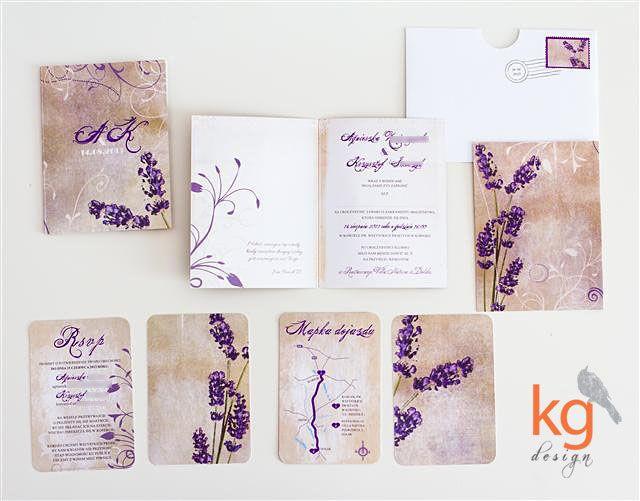 oryginalne i niepowtarzalne zaproszenie na ślub w stylu vintage z lawendą, kolorystyka postarzana, fioletowy, fiolet, brąz, beż, piaskowy, d...