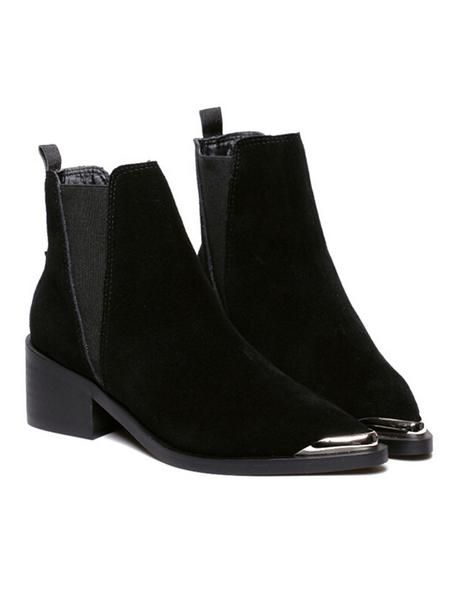 Black Suedette Stretch Side Pointed Ankle Boots - MYNYstyle - 2