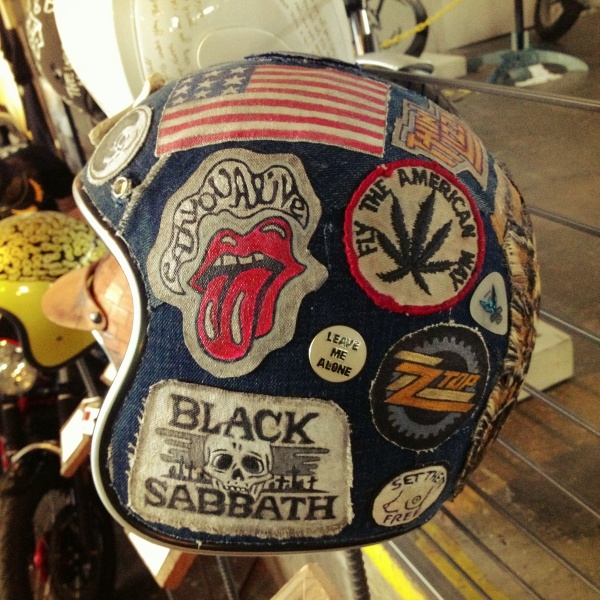 Sick patch denim helmut by Jud at The One Motorcycle Show in Portland