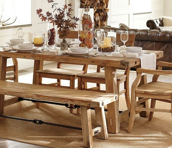 Rustic Style Mango Wood Dining Table With Bench Home Interiors