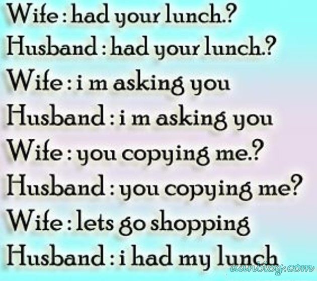 Funny Husband – Wife Joke Of Lunch And Shopping