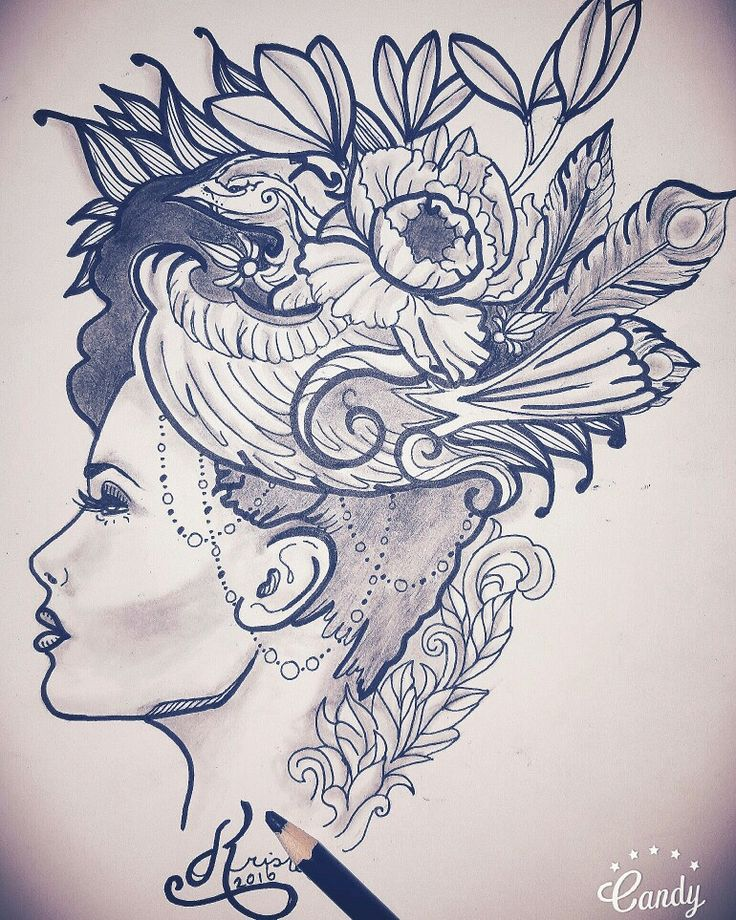 Woman floral birdy tattoo ideas design kristel peters