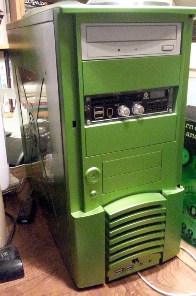 """Desktop AMD Athlon 64 3700 + @ 2.4g 2G DDR 165G HD Win7 Pro GeFORCE 6800 DVD RW  AMD Athlon 64 3700 + @ 2.4g Custom Green Desktop 2G DDR 165G Western Digital HD Win7 Professional 64 with discs, box and Activation key GeFORCE 6800 AGP 8X PCI E Video Card with dual DVI out DVD RW Drive EnerMax Front panel control module      2X USB     2 X Firewire     2 X SATA     Card Reader     Dual fan Speed controller  Free Ship with full buy it now, (a $50.00 value added) 19"""" Deep X 16"""" Tall X 8"""" Wide"""