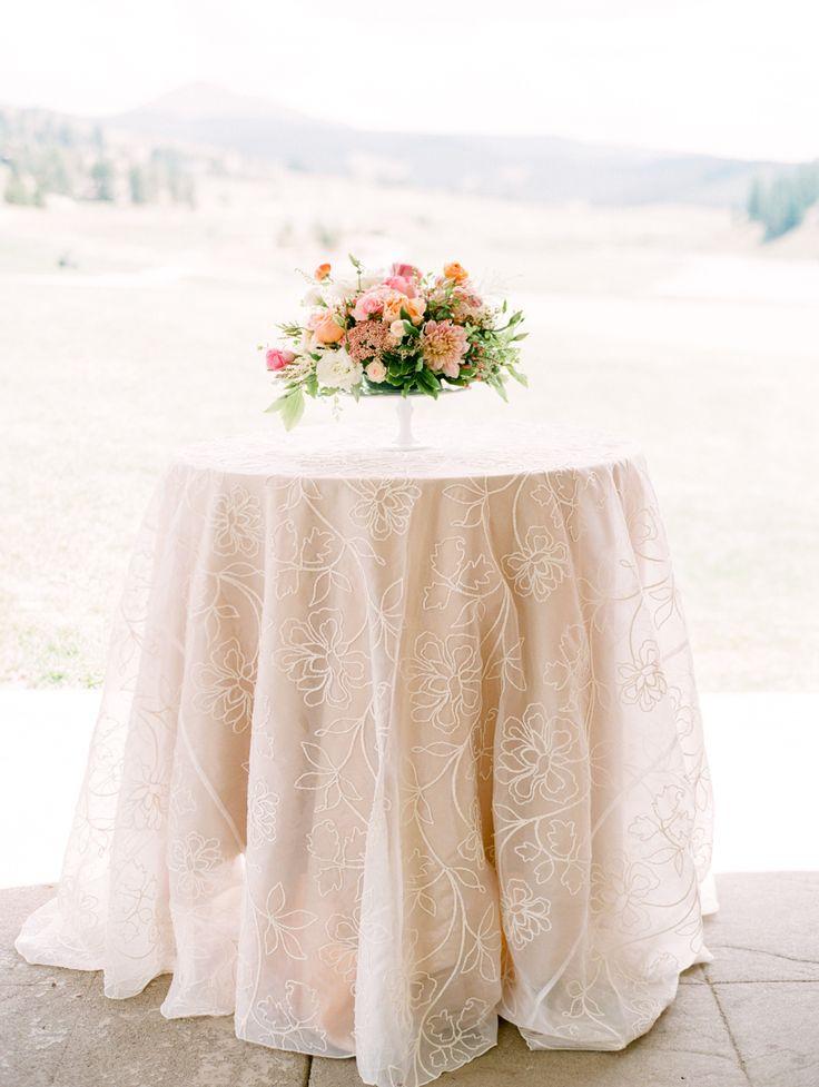 Outdoor Pastel Keystone Colorado Wedding Wedding Tablecloths Wedding Linens Wedding