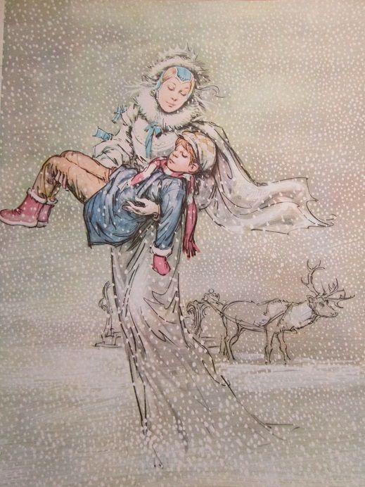 """""""The Snow Queen"""" Illustration by Marino (Marino Guarguaglini / 1923 - 1974)"""