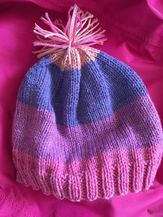 Pink and Purple Toque with Pom Pom Hand Knitted Hat