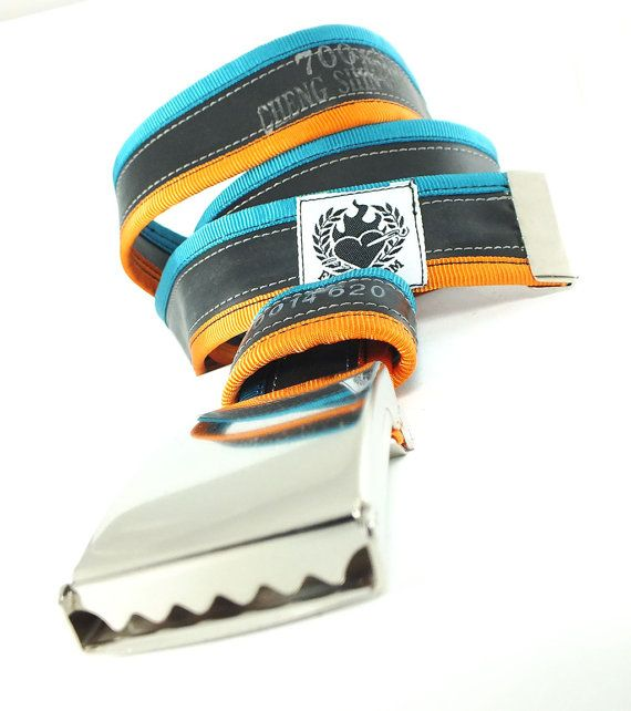 punctured turquoise / orange #bicycle #innertube #belt by felvarrom $34 on Etsy
