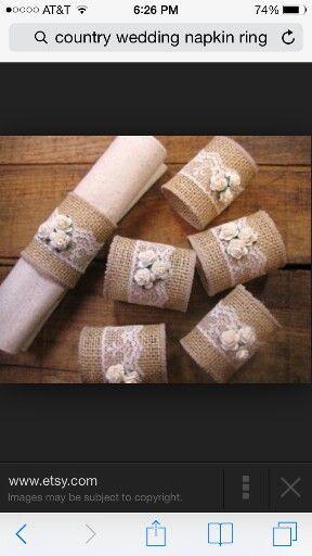 Burlap lace napkin rings