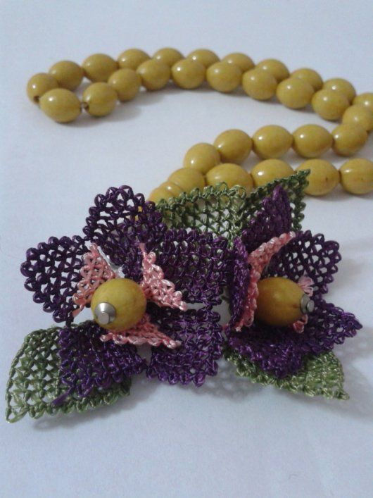 Needle lace purple flower. Please come right here for more...