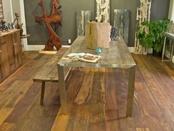 Reclaimed teak wood flooring and table made from teak.   Underfoot Hard Surfaces Showroom of Scottsdale