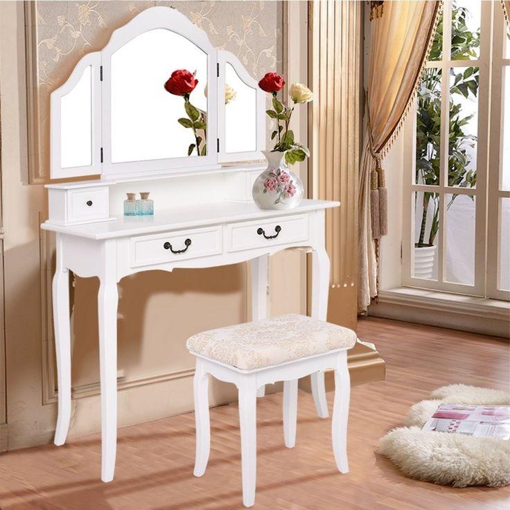 SEA137 Masă de toaletă albă - http://www.emobili.ro/cumpara/sea137-set-masa-alba-toaleta-cu-4-sertare-cosmetica-machiaj-oglinda-710 #eMobili
