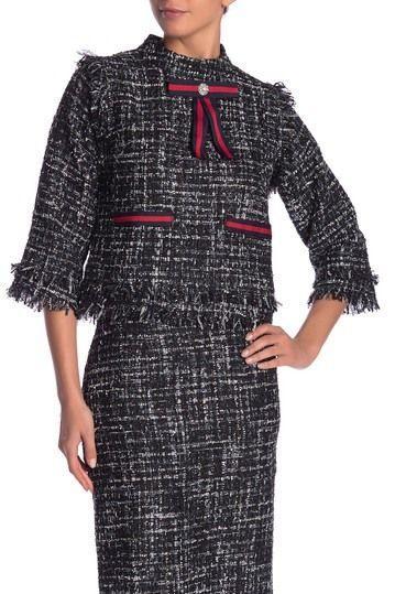 f767f18122e19d Gracia | Tweed Knit Stripe Ribbon Blouse in 2019 | Prep-Tastic Stuff ...