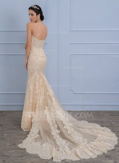 Trumpet/Mermaid Sweetheart Chapel Train Beading Sequins Zipper Up Strapless Sleeveless Church General Plus No Winter Spring Summer Fall Champagne Lace Wedding Dress