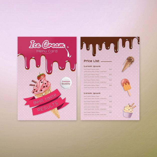 Eiscrememenü-Kartendesign erstklassiger Vektor   – icecream menu design