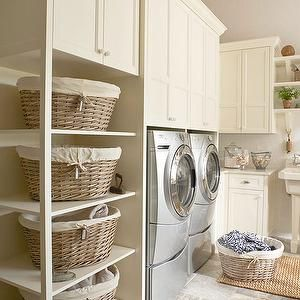 BHG - laundry/mud rooms - cream cabinets, creamy white cabinets, laundry room storage, organized laundry room, laundry room organization, ti...