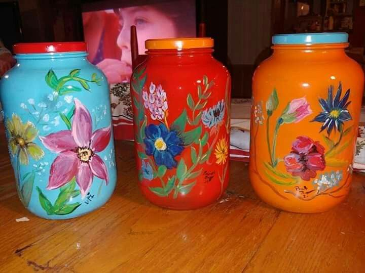 Hand Painted Pickle Jars Pickle Jar Crafts Painting Glass Jars Glass Jars Diy