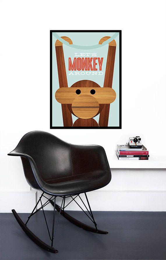 Poster Danish monkey Kay Bojesen print Mid century by yumalum