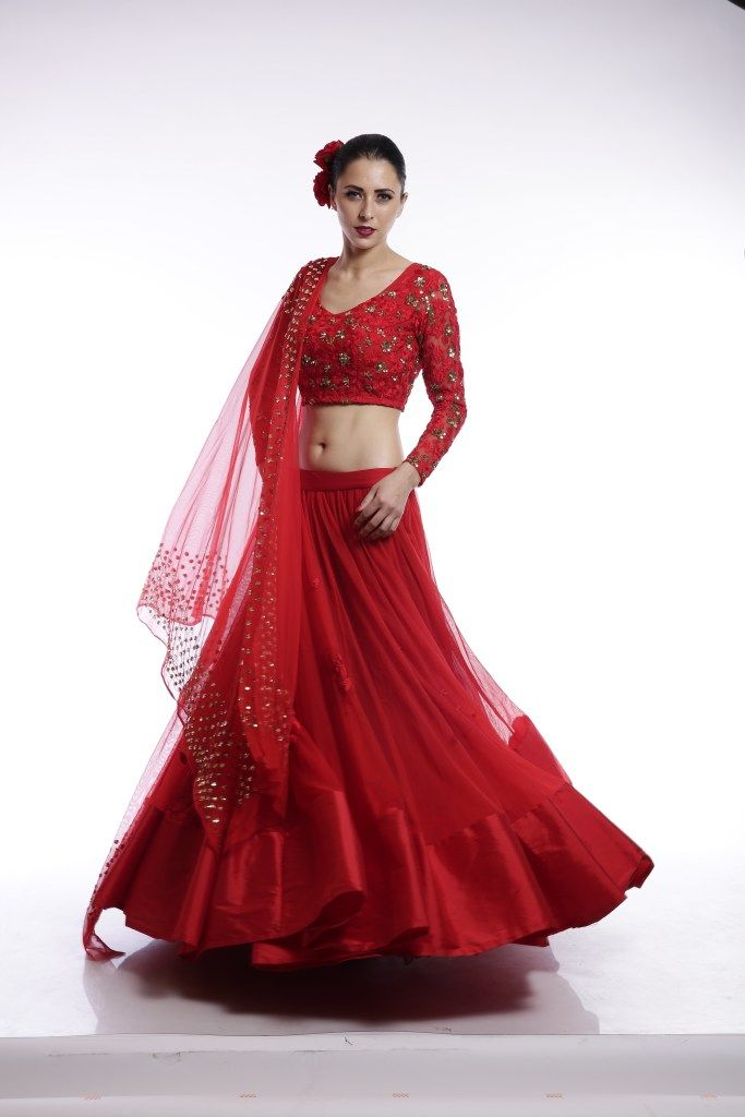 34a39cec9 Love this plain red net lehenga with embroidered blouse. Click on picture  to see lehenga price. #Frugal2Fab
