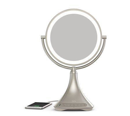 "iHome iCVBT7 $149.99 Portable/Rechargeable 9"" Double-sided Vanity Mirror with Bluetooth/Speakerphone and USB Charging"