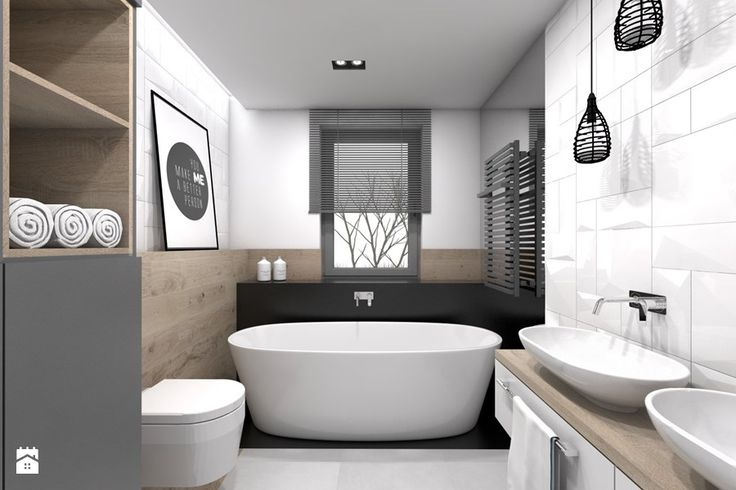 Projekt domu jednorodzinnego 3 - Średnia łazienka, styl skandynawski - zdjęcie od BAGUA Pracownia Architektury Wnętrz