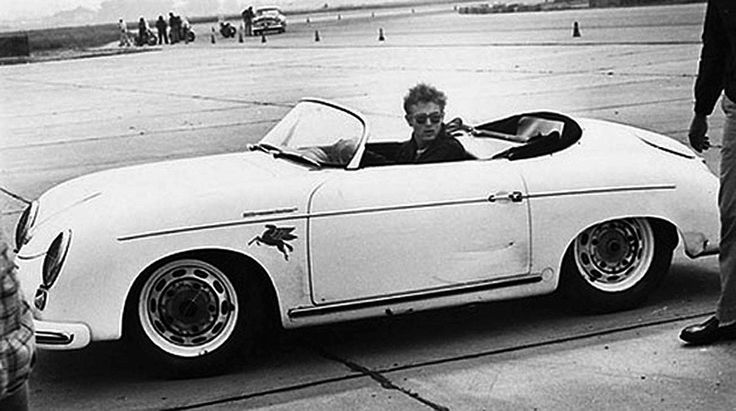 James Dean en Porsche 356 super 1955 - source The Hollywood Garage.