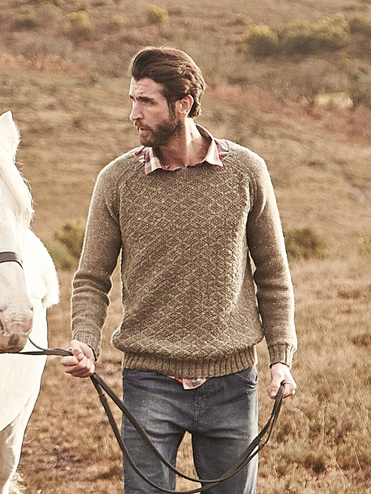 Suffolk - A lovely mens textured sweater by Lisa Richardson in Hemp Tweed (wool and hemp).